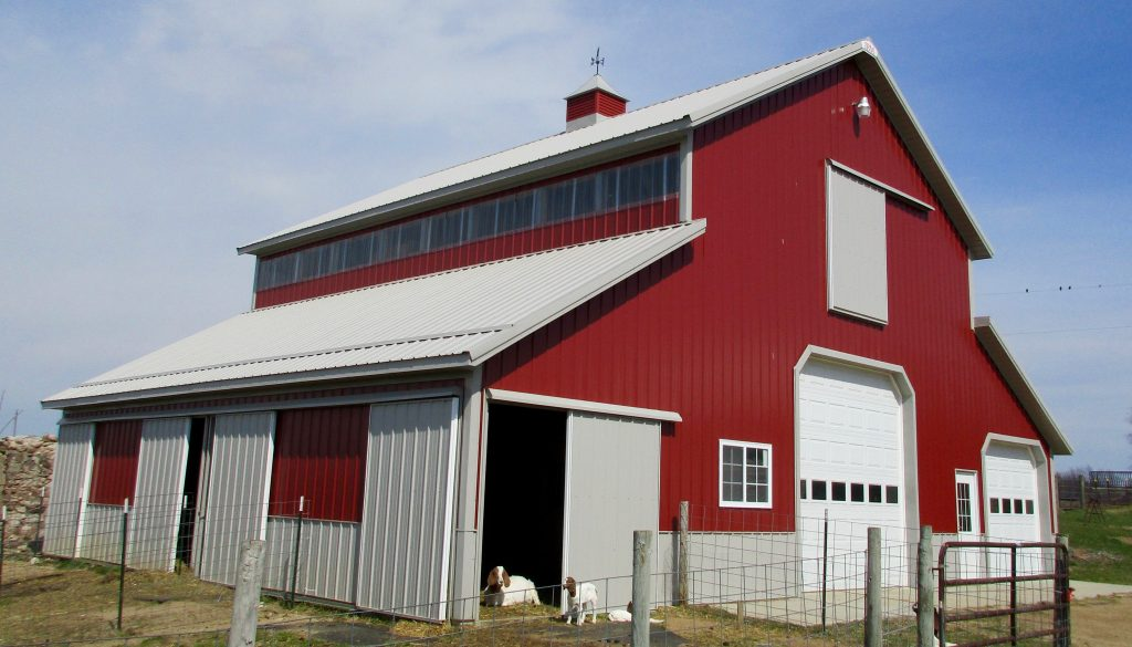 Jon & Jennifer - Berrian Center, MI 30 x 40 Barn with two 12 x 40 Lean Tos. Grey Roof and trim with Rustic Red sides.